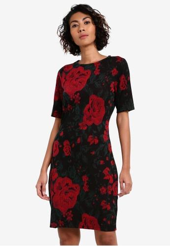 Dorothy Perkins black Rose Print Bodycon Dress DO816AA0RV3FMY_1