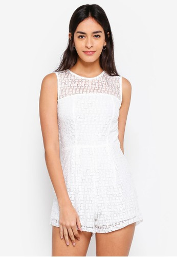INDIKAH white Sleeveless Crochet Playsuit 091C4AADDB9673GS_1