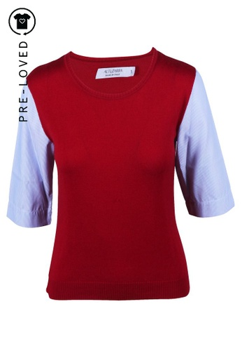 Altuzarra red Pre-Loved altuzarra Red Top With Blue And White Striped Sleeves AB520AA213F79EGS_1