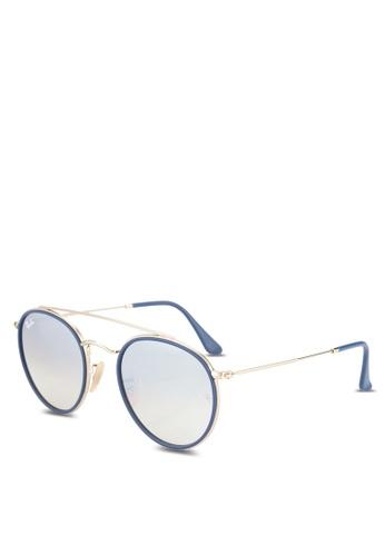 Ray-Ban 金色 Round Double Bridge RB3647N Sunglasses RA896GL88GRRMY_1
