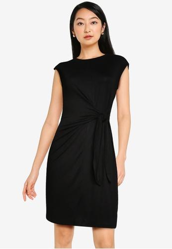 ZALORA BASICS black Knot Front T Shirt Dress 862D4AAC841B73GS_1