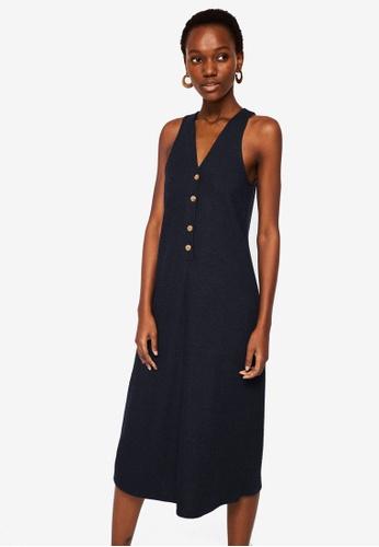 Mango blue Ribbed Buttonned Dress D20DCAAC663073GS_1