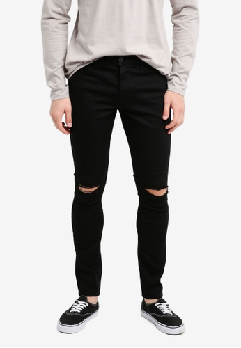 Hollister 黑色 Extra Skinny Kneehole Jeans 32D8FAAD5C5E4DGS_1