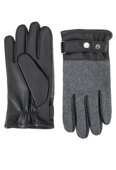 拼接材質皮革手套