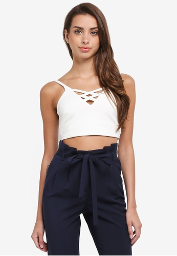 Miss Selfridge white Petite Lace Up Cropped Top B6910AA53065D3GS_1