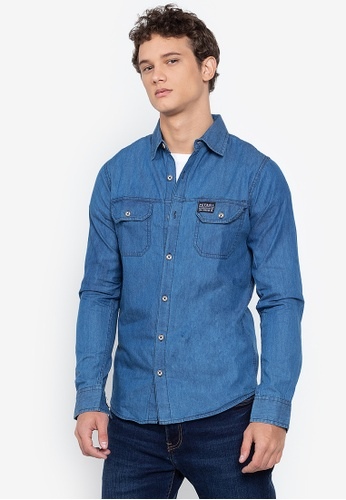PETROL yellow Basic Woven Denim Shirt 0752BAA720C779GS_1