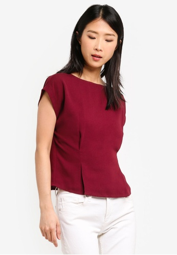 ZALORA BASICS red Basic Boat Neck Blouse 895C5AA60AF6B0GS_1