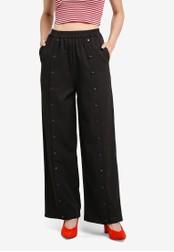 Something Borrowed black Elasticated Popper Pants 030D7AA9BE7D91GS_1