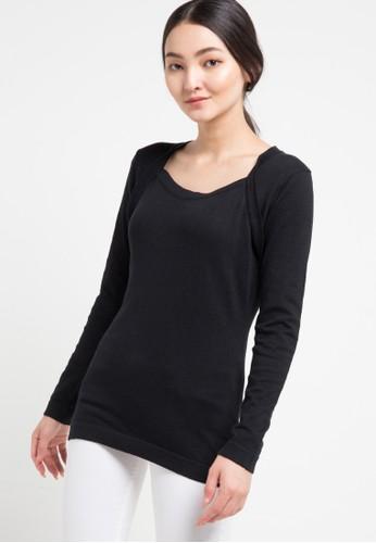 Miyoshi Josei black Blouse Flatknit Long Sleeve 6FD1DAAA93C63EGS_1