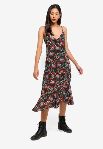 Hopeshow green and multi Floral Slip Dress 7612AAA9DD069FGS_1