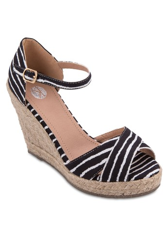Pia 交叉露esprit專櫃趾繞踝楔型涼鞋, 女鞋, 鞋