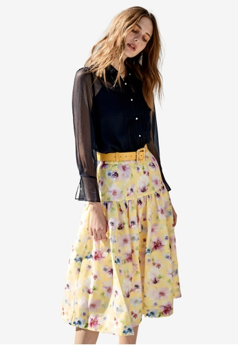 iROO multi Bright Floral Print Skirt DC3C6AA269FFABGS_1