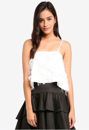 MDSCollections white Fringed Cami In White 48AECAA1894945GS_1