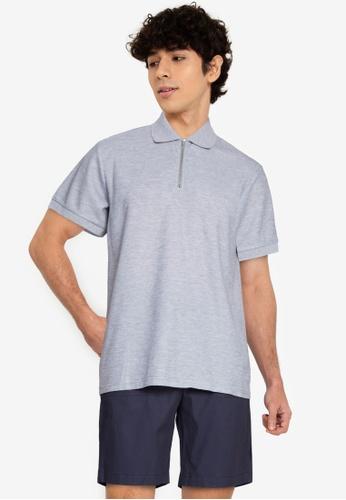 ZALORA BASICS grey Zip-Up Polo Shirt 4CBD6AA5336BCFGS_1
