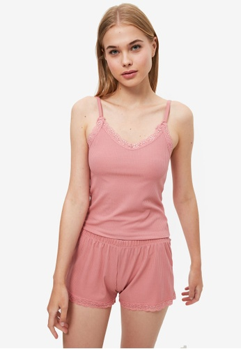 Trendyol pink Rib Pyjama Set 80622AA3496A44GS_1
