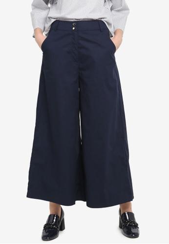 Zalia navy Crop Wide Leg Pants 2F5DDAA9420E1AGS_1