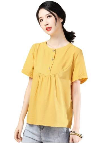 A-IN GIRLS yellow Simple Round Neck Solid Color Blouse CD896AA1B19513GS_1
