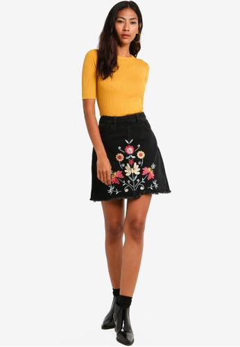 c7ab3d79d8852a Buy Brave Soul Denim Skirt With Embroidery At Centre Front Online on ZALORA  Singapore