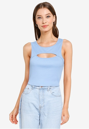 Supre blue Romina Cut Out Crop Tank Top 6FB16AA0525833GS_1