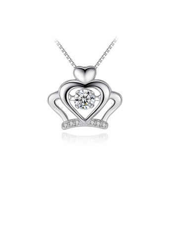 Glamorousky white 925 Sterling Silver Crown Pendant with White Cubic Zircon and Necklace A586CAC8DC63CBGS_1