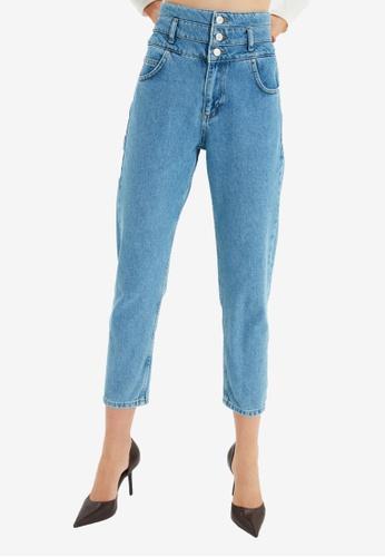 Trendyol blue High Waist Mom Jeans 5D8D2AA4A45398GS_1