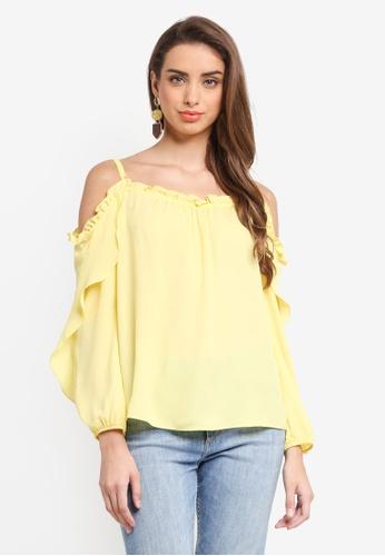 Dorothy Perkins yellow Lemon Ruffle Cold Shoulder Top 02DCCAA90BAA3BGS_1