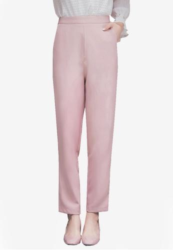 YOCO pink High Waist Tapered Pants 2B5DBAA3094066GS_1
