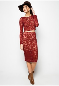 Bordeaux Lace Terno Skirt
