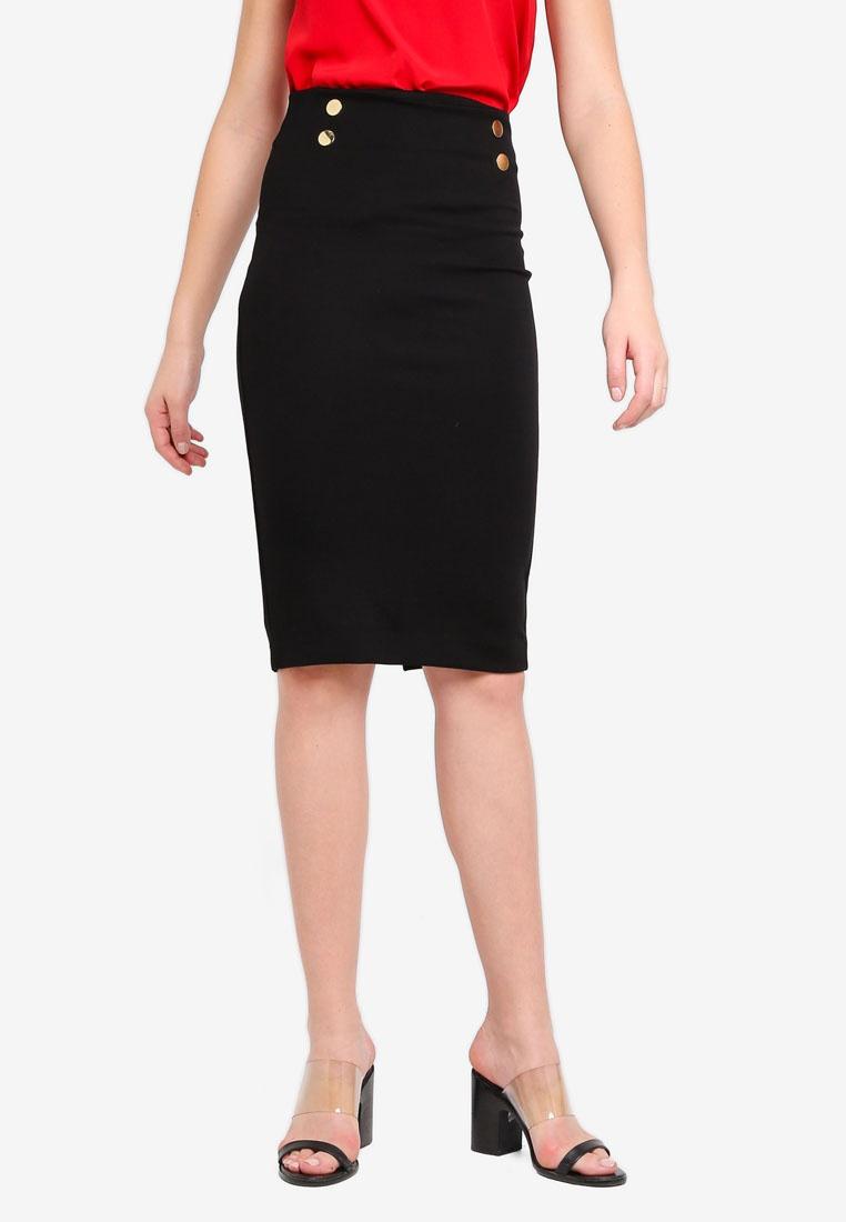 Black Button Skirt Perkins Dorothy Pencil Black EwXxq1