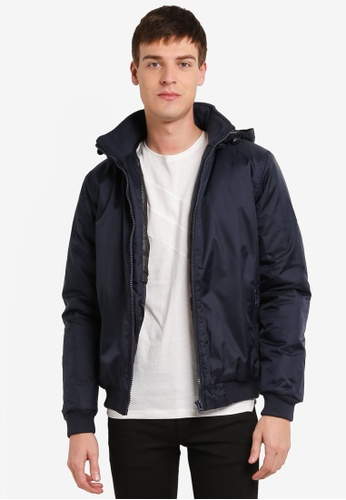 !Solid blue and navy Korin Hooded Double Layer Jacket SO701AA0S8T8MY_1