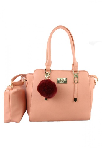 DNJ pink Ladies Bag with Sling Bag DN487AC35WKMPH_1