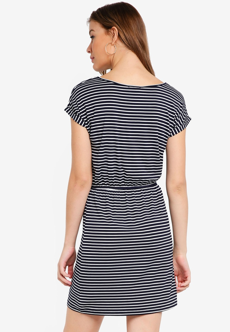 2 Navy pack Marl Waist T with Blue Basic Gathered BASICS Dress ZALORA Stripe Shirt White wwprH7xgWq
