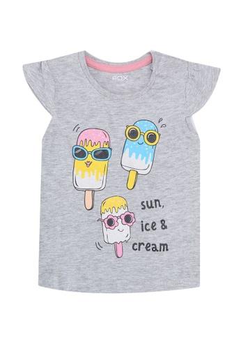 FOX Kids & Baby grey Printed Crop Sleeve Tee C3337KA141C59AGS_1