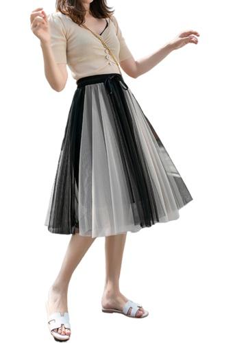 Halo black and beige Layered Net Yarn Midi Skirt 718ADAA8FC2B03GS_1