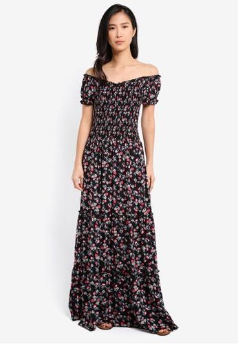 ZALORA black Off Shoulder Smocked Maxi Dress 0AC48AA6EA3730GS_1