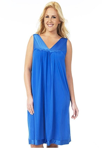 Naturana blue Sleeveless short gown Plus F55FEAA75D201CGS_1