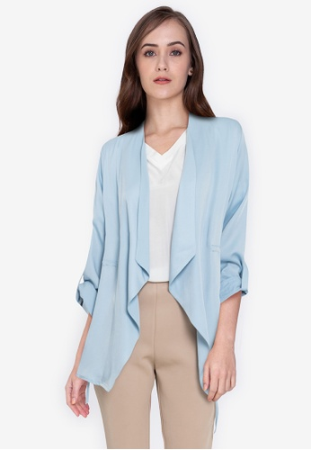 ZALORA WORK blue Waterfall Rolled Up Sleeves Jacket 7F3A5AA9749BFCGS_1