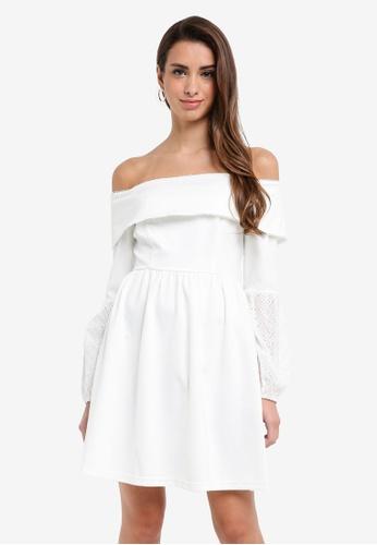 LOST INK white Bardot Hybrid Dress 77F17AA9343028GS_1