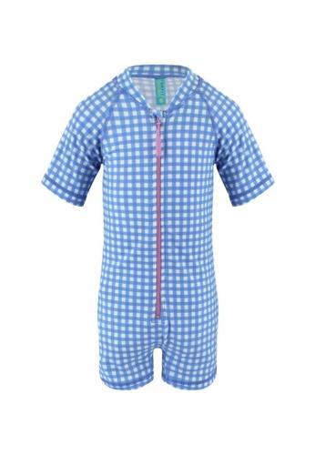 FUNFIT blue UPF50+ Junior Sunsuit Half Sleeve (Unisex) in Gingham Summer Print ED012KA025E448GS_1