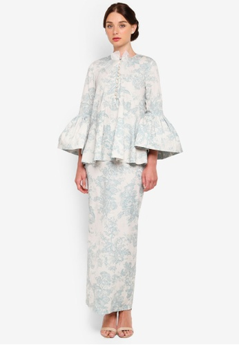 Ivory Puff Sleeve Kurung from Rizalman for Zalora in white and Green