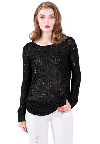 London Rag black Shayla Sequin Sweater 4AD50AAE173337GS_1