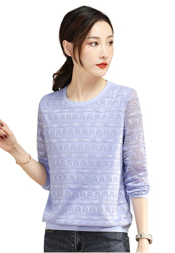 A-IN GIRLS purple Fashion Hollow Round Neck T-Shirt AE4D3AA7EC7DC3GS_1