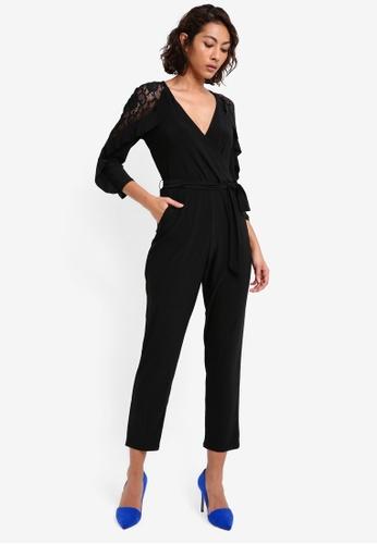 Wallis black Petite Black Lace Shoulder Ruffle Jumpsuit WA800AA0SL1KMY_1