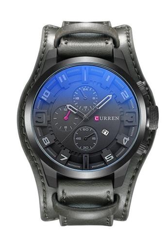 curren grey Original CURREN 8225 Men's Sports Full Leather Strap Date Watch (Full grey) CU537AC0RTPCMY_1