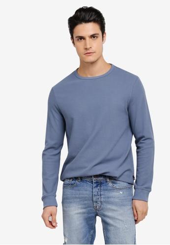 Burton Menswear London blue Long Sleeve Mini Waffle Jersey Sweatshirt BU964AA0SWM1MY_1