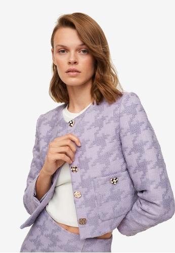 Mango purple Houndstooth Jacket 6497EAA08CCED3GS_1
