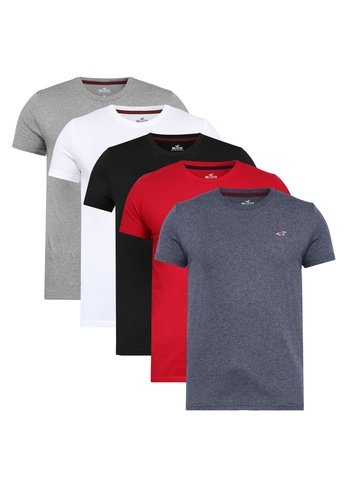 df51e12501 Buy Hollister 5-Pack Crew Multipack T-Shirts Online on ZALORA Singapore