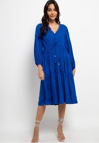 SUNDAYS blue Billow long sleve midi dress 78363AA37D5DBCGS_1