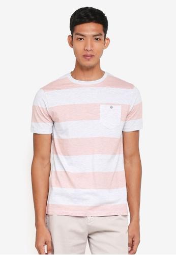Burton Menswear London orange Coral Colour Block Stripe T-Shirt F452DAAF394961GS_1