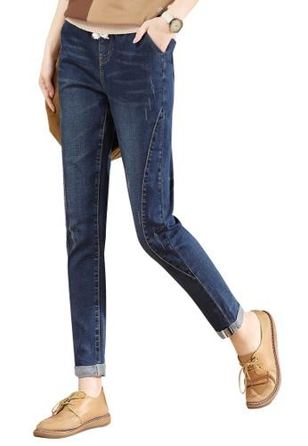 A-IN GIRLS navy Elastic Waist Panelled Jeans ABA81AAB20E0ADGS_1